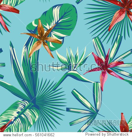 composition of tropical plants and flowers in a trendy blue style. Beautiful print background seamless wallpaper