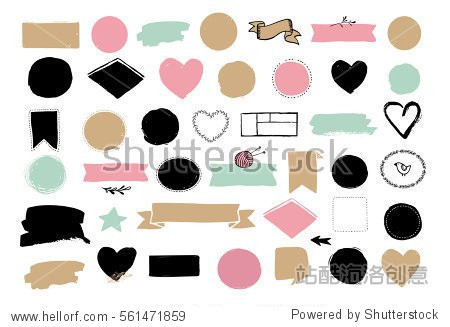 Set of hand drawn shapes - hearts  ribbons  banners and circles  Vector design elements