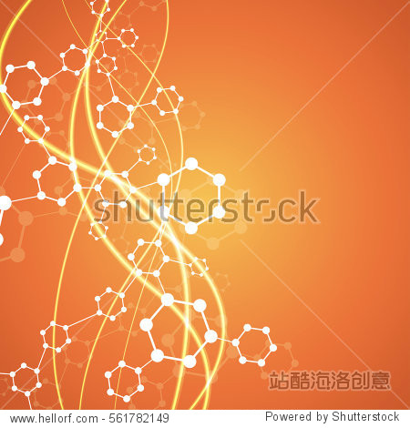 Geometric abstract background with connected line and dots. Structure molecule and communication. Scientific concept for your design. Medical  technology  science background. Vector illustration.