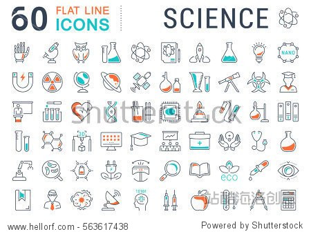 Set vector line icons  sign and symbols in flat design science with elements for mobile concepts and web apps. Collection modern infographic logo and pictogram.
