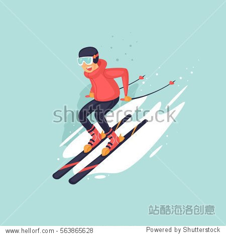 Young man riding on skis on snow  winter. Flat vector illustration in cartoon style.