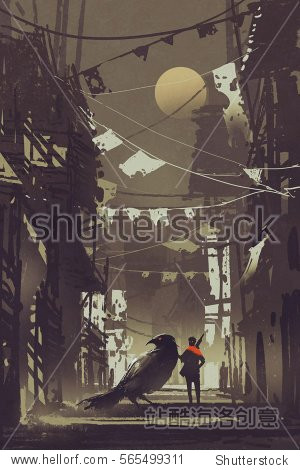 the traveler with his crow in abandoned city at night illustration painting