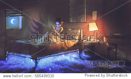 boy reading tablet in bedroom and something under the bed illustration painting