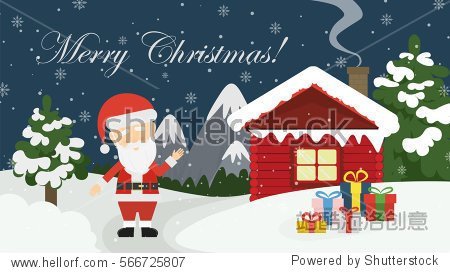 Santa at home. Beautiful scene of Santa Claus near christmas house in snow. Winter landscape with mountains and snow. Merry Christmas.