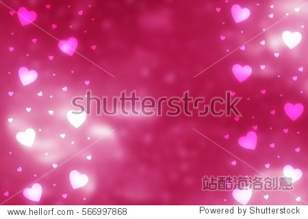 Pink abstract Valentines Day festive background and heart bokeh  glitter or circles lights with hearts. Round  defocused particles.