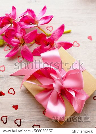 Cute decorated gift pack for present with pink ribbon
