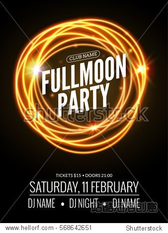 Fullmoon party design flyer. Disco party night. Vector dance poster template. Moon light illustration