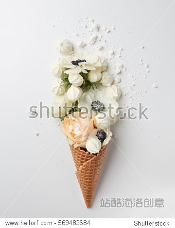 Waffle cone with composition of flowers