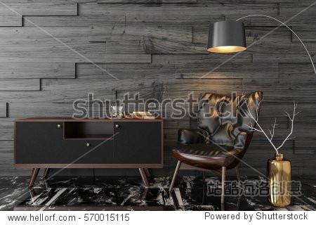 Black leather armchair  dresser  console  floor lamp in empty black room. 3D render illustration.