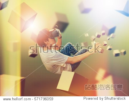 Visual reality concept.Young Asian man using Visual reality or VR headset man getting experience using VR-headset glasses.