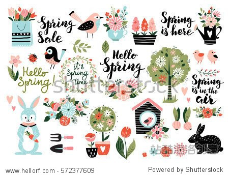 Spring set  hand drawn elements- calligraphy  flowers  birds  wreaths  and other. Perfect for web  card  poster  cover  tag  invitation  sticker kit. Vector illustration.