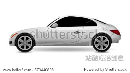 Vector automobile coupe isolated profile side view. Luxury modern sedan transport auto car. Side view car design illustration.