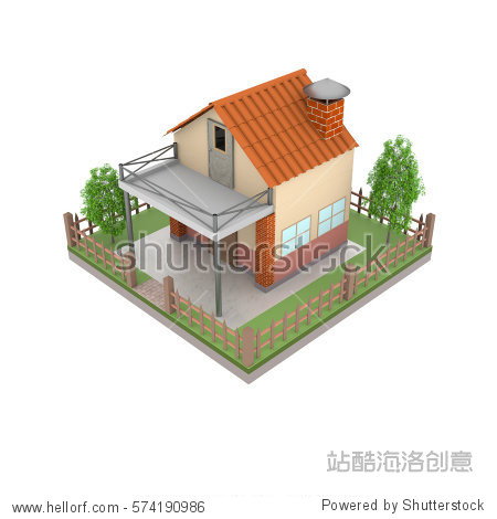 Isometric 3D rendering of home for more decorative and creative game.