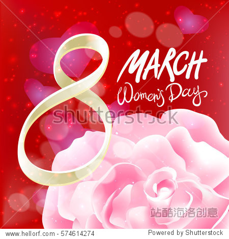 March 8 greeting card. International Womans Day. vector. pink rose. red light background art