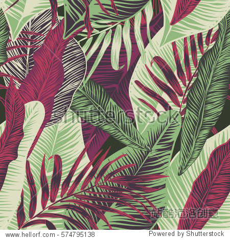Vector  seamless  tropical  exotic  trendy  stylish  trendy  pattern of exotic  tropical plants  and shades of green. applicable in advertising prints  printing.