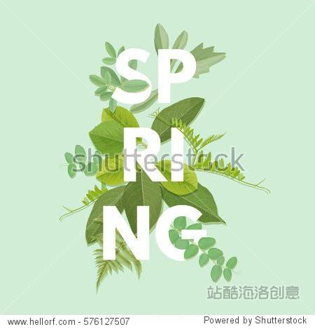 Spring letter with green leaves. Season sale vector label. Foliage lettering. Floral illustration. Springtime poster. For t-shirt  fashion  prints  banner or packaging design