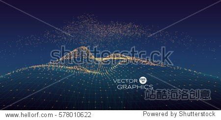 Cyber vector landscape made of wireframe and particles with rising particles above with connection line. Modern design concept for technology illustration  big data.