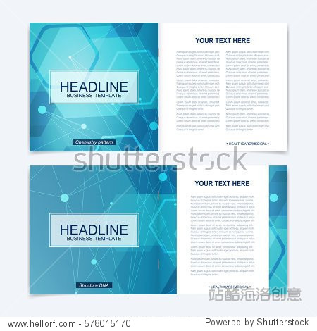 Templates for square brochure. Leaflet cover presentation. Business  science  technology design book layout. Scientific molecule background