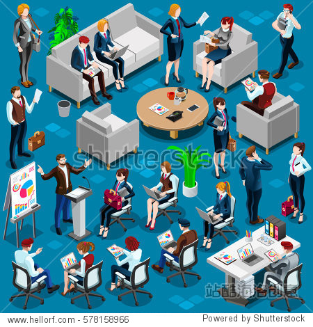 Isometric people isolated meeting business men & women staff infographic. 3D Isometric boss person icon set. Creative design vector illustration collection