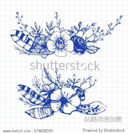 Boho chic flowers Fashion illustration Boho style For t-shirt  invitation  posters