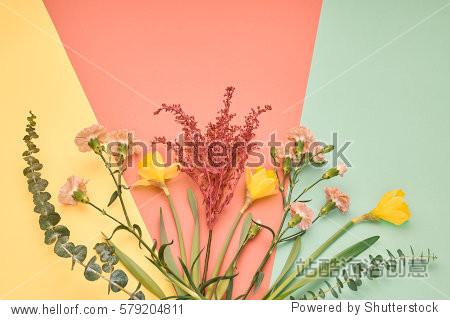 Fashion Design Spring Set. Trendy Bouquet of multicolored flowers. Floral Summer Concept. Minimal. Creative Art.