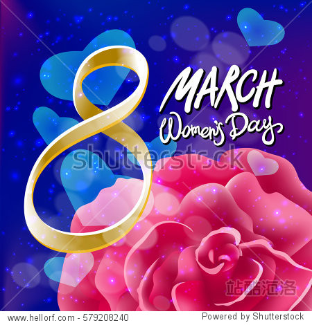 8 march womens day. pink red rose background art