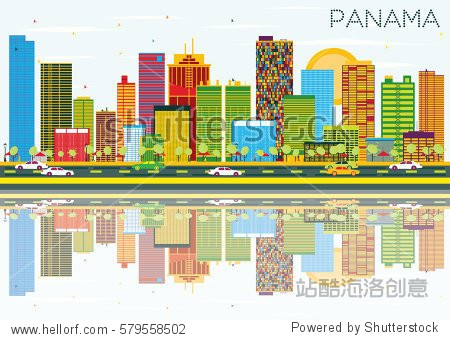 Panama Skyline with Color Buildings  Blue Sky and Reflections. Business Travel and Tourism Concept. Image for Presentation Banner Placard and Web Site.
