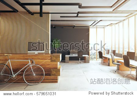 Creative office interior with bicycle  reception desk  several desks with computer monitors and panoramic city view. 3D Rendering