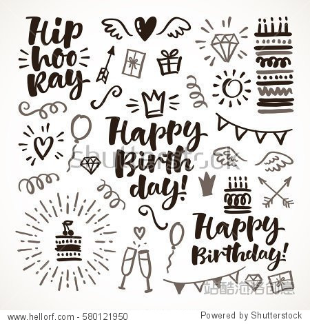 Vector hand drawn calligraphic illustration. Happy birthday set of lettering and graphic elements for invitation and greeting card  prints and posters. Festive positive design
