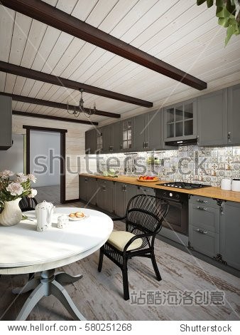 Large wooden house kitchen interior design in country style  decorated with vintage kitchenware. 3d render.