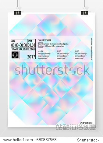 Poster design. Banner template. Business concept. Vertical graphic poster. Promotion cover. Holographic banner. Vector flyer mock up. Presentation design for business  art or entertainment event.