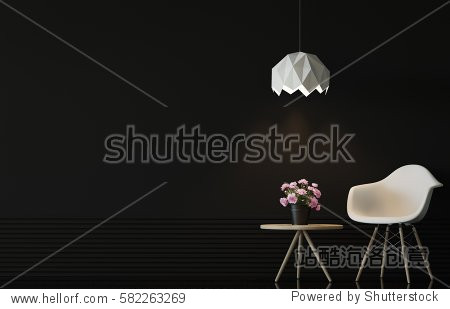 Modern living room interior with black wall 3d rendering image.There are minimalist style  Empty black wall white chair and wood desk