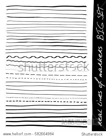 Hand lines - real markers. Big set. Different lines - straight  wavy  interrupt  dotted  thick  thin... Black. Isolated on white background. Vector - eps 10.