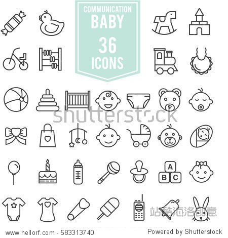 baby icons set illustration design  EPS10