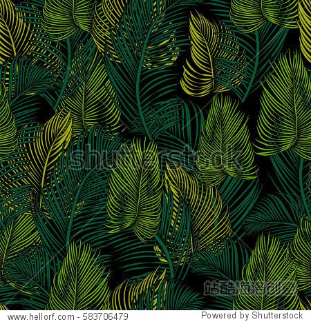 Seamless tropical pattern of Palm branch and leaves. Vector illustration. style Jungalow