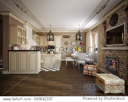 Living room  kitchen and hall in style of Provence  decorated with vintage accessories. 3d render