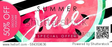 "Gift certificate  Voucher  Coupon template with watercolor paint textured watermelon on trendy striped background. ""Summer sale"" hand written lettering."