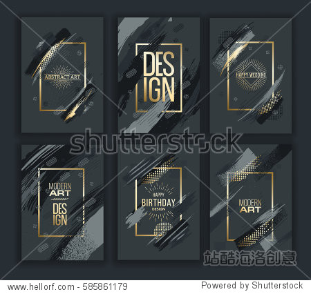 Vector frame for text Modern Art graphics for hipsters . dynamic frame stylish geometric black background with gold. element for design business cards  invitations  gift cards  flyers and brochures.