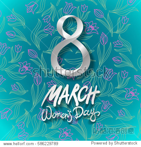 March 8 greeting card. International Womans Day. blue background. flower tulip art