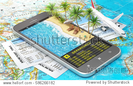 Concept of travel. Online Airline tickets. Part of sea line with palms and scoreboard of departures in the phone screen. 3d illustration