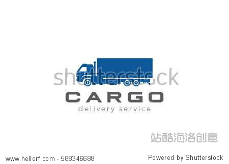 Cargo Truck silhouette Logo design vector template. Delivery shipping Logotype icon