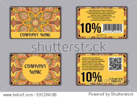 Set of discount cards with floral mandala pattern. Loyalty card. Front page and back page. Vector coupon with round floral ornament on background.