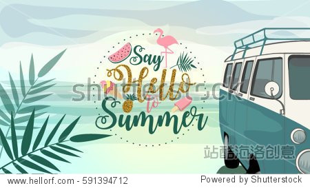 Say Hello to Summer poster  banner in trendy 80s-90s Memphis style. Van illustration on Beach with gold vector Lettering and colorful design for poster  card  invitation. Easy editable for  design.