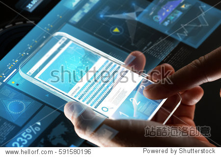 business  statistics  people and future technology concept - close up of businessman hands with charts on transparent smartphone screen and virtual projections over black background