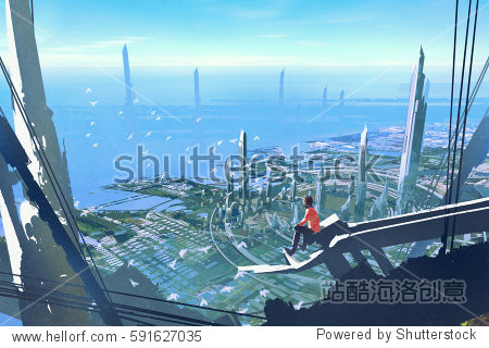 aerial view with the man sitting on edge of building looking at futuristic city illustration painting
