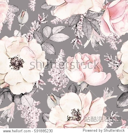 Seamless pattern with pink flowers and leaves on gray background  watercolor floral pattern  flower rose in pastel color  tileable for wallpaper  card or fabric