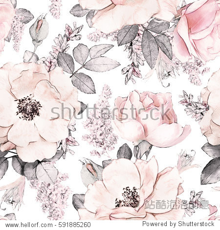 Seamless pattern with pink flowers and leaves on white background  watercolor floral pattern  flower rose in pastel color  tileable for wallpaper  card or fabric