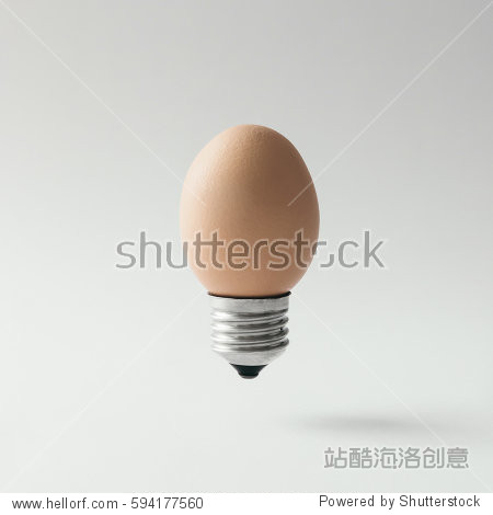 Egg lightbulb on bright background. Idea concept.