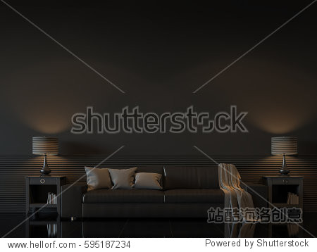 Modern living room interior with empty black wall 3d rendering image.There are minimalist style decorate room with black furniture floor wall