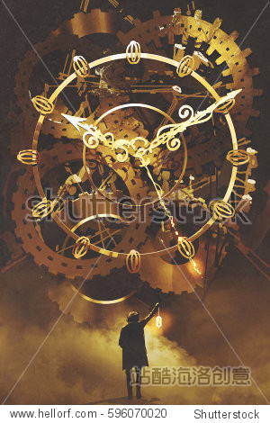 man with a lantern standing in front of the big golden clockwork illustration painting